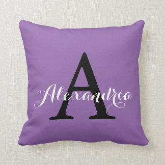 Amethyst Orchid Pale Purple Solid Color Monogram Throw Pillow