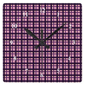 Amethyst Peach Pink Purple Lilac Stripe Plaid Clocks