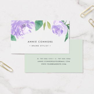 Amethyst Peony | Watercolor Floral Business Card