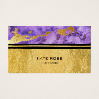 Amethyst Plum Black VIP Stone Marble Golden Makeup Business Card