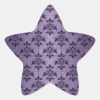 Amethyst Purple and Black Damask Star Sticker
