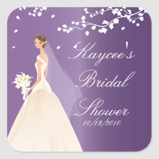 Amethyst Purple Bride Bridal Shower Square Sticker