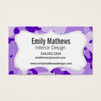 Amethyst Purple Camo; Camouflage Business Card