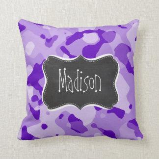 Amethyst Purple Camo; Camouflage; Chalkboard Cushion