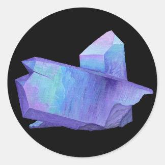 Amethyst purple crystal angel aura quartz geode classic round sticker