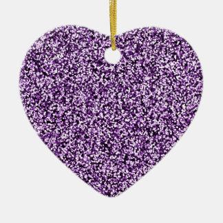 Amethyst Purple Faux Glitter Ceramic Heart Decoration