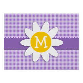 Amethyst Purple Gingham Daisy Posters