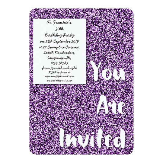 Amethyst Purple Glitter Party Invitation