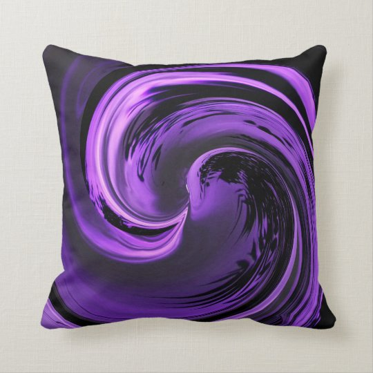Amethyst Purple Island Wave Throw Pillow