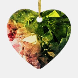 Amethyst Rainbow Ceramic Heart Decoration