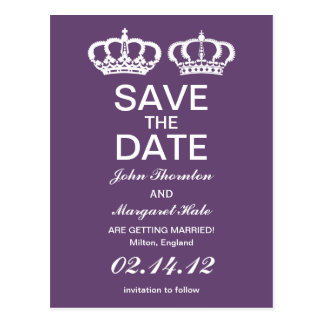 Amethyst Royal Couple Save the Date Postcard