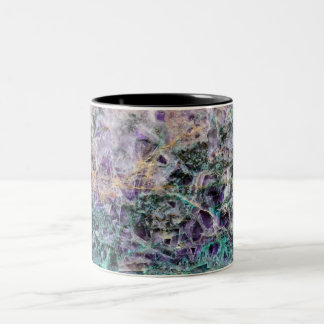 amethyst stone texture pattern rock gem Two-Tone coffee mug