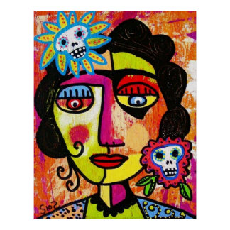 Amethyst Sugar Skull Mexican Woman Posters