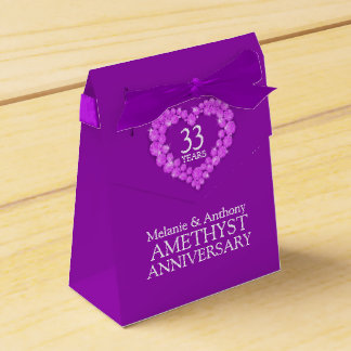 Amethyst wedding heart 33 years gift box