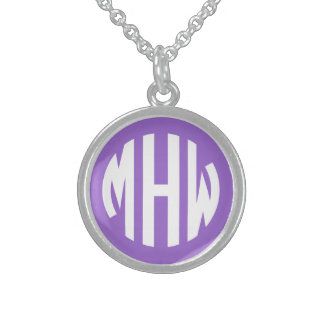 Amethyst White 3 Initials in a Circle Monogram Sterling Silver Necklaces