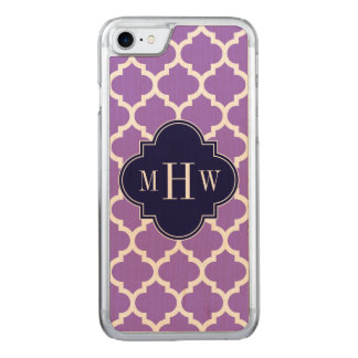 Amethyst White Moroccan #5 Navy 3 Initial Monogram Carved iPhone 7 Case