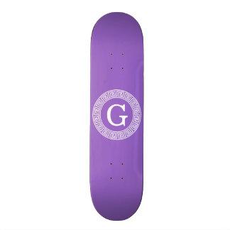 Amethyst Wht Greek Key Rnd Frame Initial Monogram 20 Cm Skateboard Deck