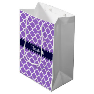 Amethyst Wht Moroccan #5 Navy Blue Name Monogram Medium Gift Bag