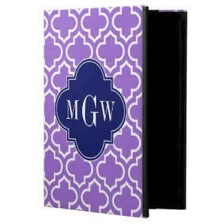 Amethyst Wht Moroccan #6 Navy Name Monogram iPad Air Cover