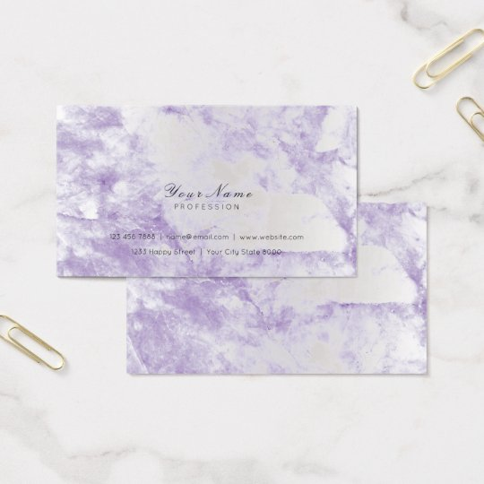 Ametyst Purple Silver Metallic Marble Gray Business Card