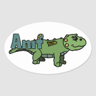 Amf (with name) oval sticker