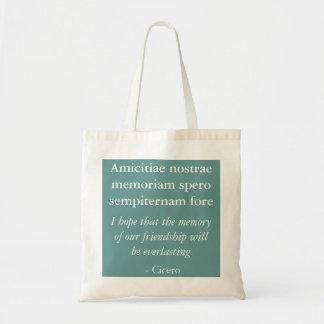 Amicitiae nostrae memoriam canvas bags