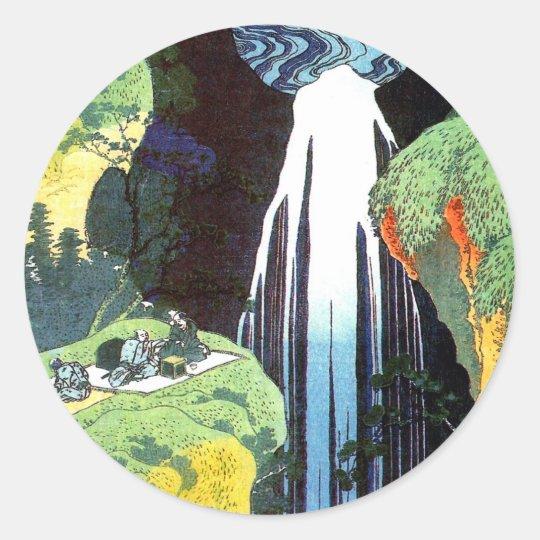 Amida Waterfall on the Kisokaido Road, Hokusai Classic Round Sticker