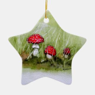 Aminita Muscaria mushroom Ceramic Star Decoration