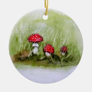 Aminita Muscaria mushroom Round Ceramic Decoration
