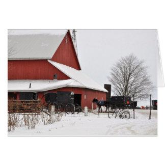 Amish Barn at Christmas Time Card