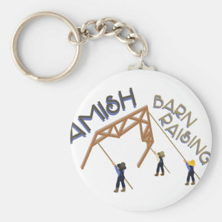 Amish Barn Raising Basic Round Button Key Ring