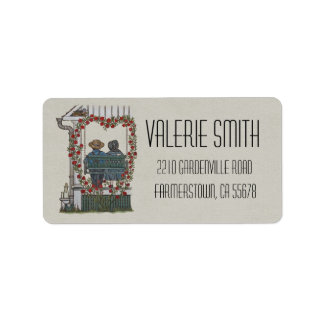 Amish Couple On Porch Swing Address Label