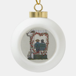 Amish Couple On Porch Swing Ceramic Ball Christmas Ornament