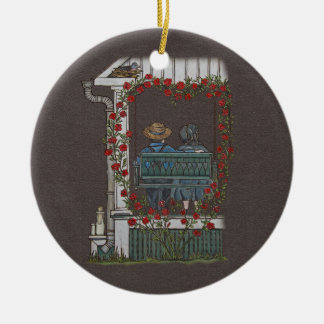 Amish Couple On Porch Swing Christmas Ornament