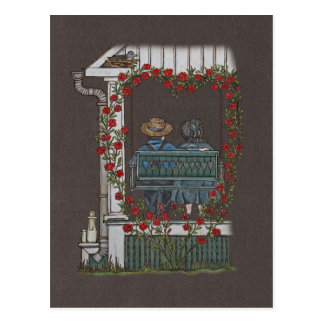 Amish Couple On Porch Swing Postcard