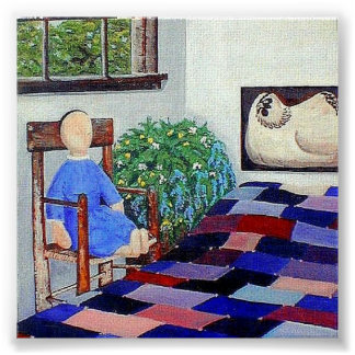 Amish Doll n' Patchwork Quilt Poster
