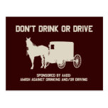 Amish - dont drink or drive post card