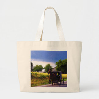 Amish Family Racing the Storm (simulated oil on ca Jumbo Tote Bag