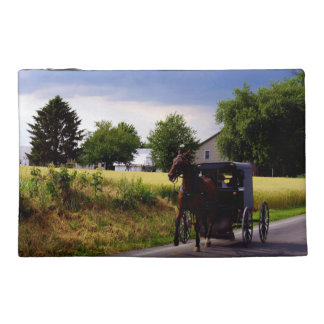 Amish Family Racing the Storm (simulated oil on ca Travel Accessories Bags
