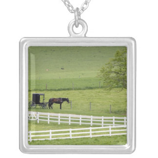 Amish farm with horse and buggy near Berlin, Silver Plated Necklace
