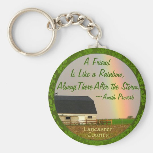 Amish Friendship proverb Keychain! Basic Round Button Key Ring