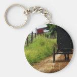 Amish Horse And Buggy Basic Round Button Key Ring