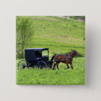 Amish horse and buggy near Berlin, Ohio. 15 Cm Square Badge