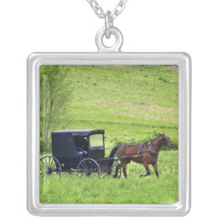 Amish horse and buggy near Berlin, Ohio. Silver Plated Necklace