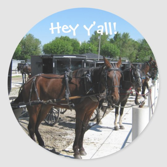 Amish Horses Say Hi! Classic Round Sticker