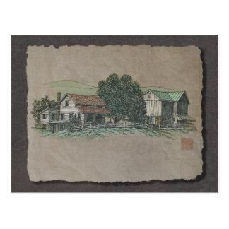 Amish House & Barn Postcard