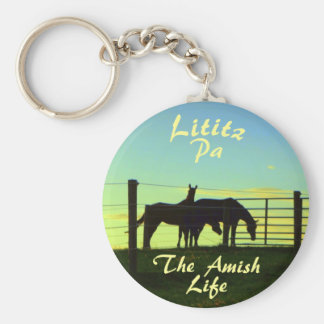 Amish Life, Lititz Horses Ketchain Basic Round Button Key Ring