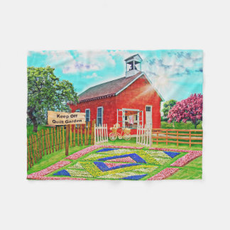 Amish Quilt Garden Painted Fleece Throw Blanket
