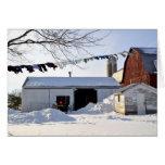 Amish Winter Laundry Scene Greeting Cards