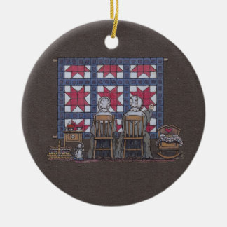 Amish Women Quilting Christmas Ornament
